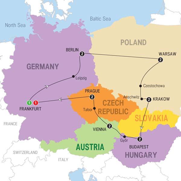 Map Of Germany Krakow.15 Day Bohemian Highlights On Trafalgar Tours From Frankfurt