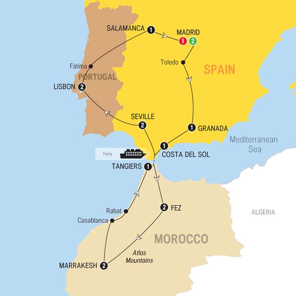 Detailed Map Of Spain Portugal And Morocco.16 Day Spain Morocco And Portugal On Trafalgar Tours From Madrid